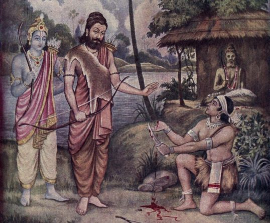 Ekalavya cuts off his thumb in front of Arjuna and Dronacharya. His statue of Drona is in the back