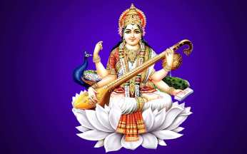 Saraswati devi seated on a lotus