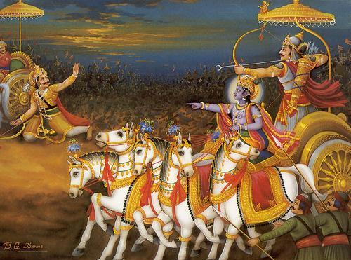 Arjuna aims his arrow at Karna, who is on the ground trying to lift his chariot