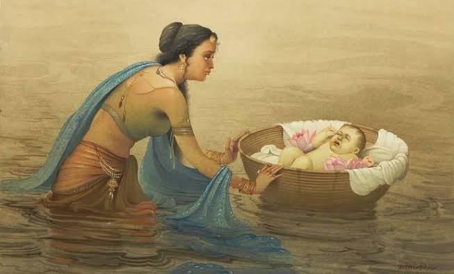 Kunti leaves Karna in a basket in the Asva River