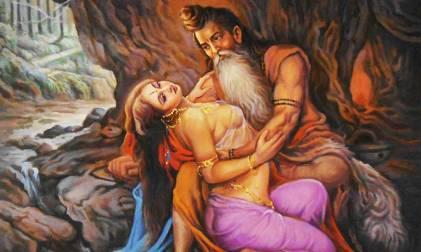 Vishwamitra and Menaka enjoying each other's company