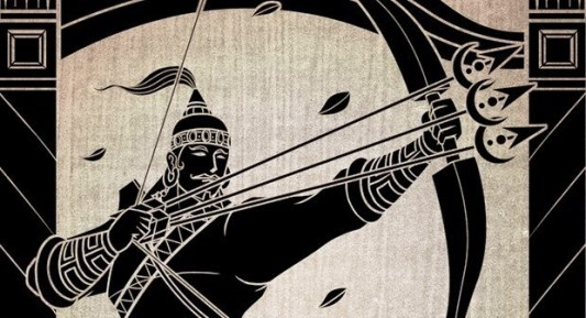 Silhouette of Barbarika aiming a bow with three arrows