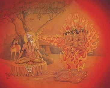 Kapila Muni's gaze burns the 60,000 sons of Sagara