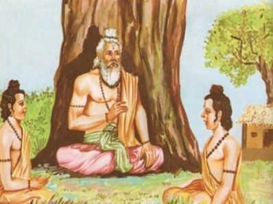 Bharadwaja sitting under a tree and teaching Drona and Drupada