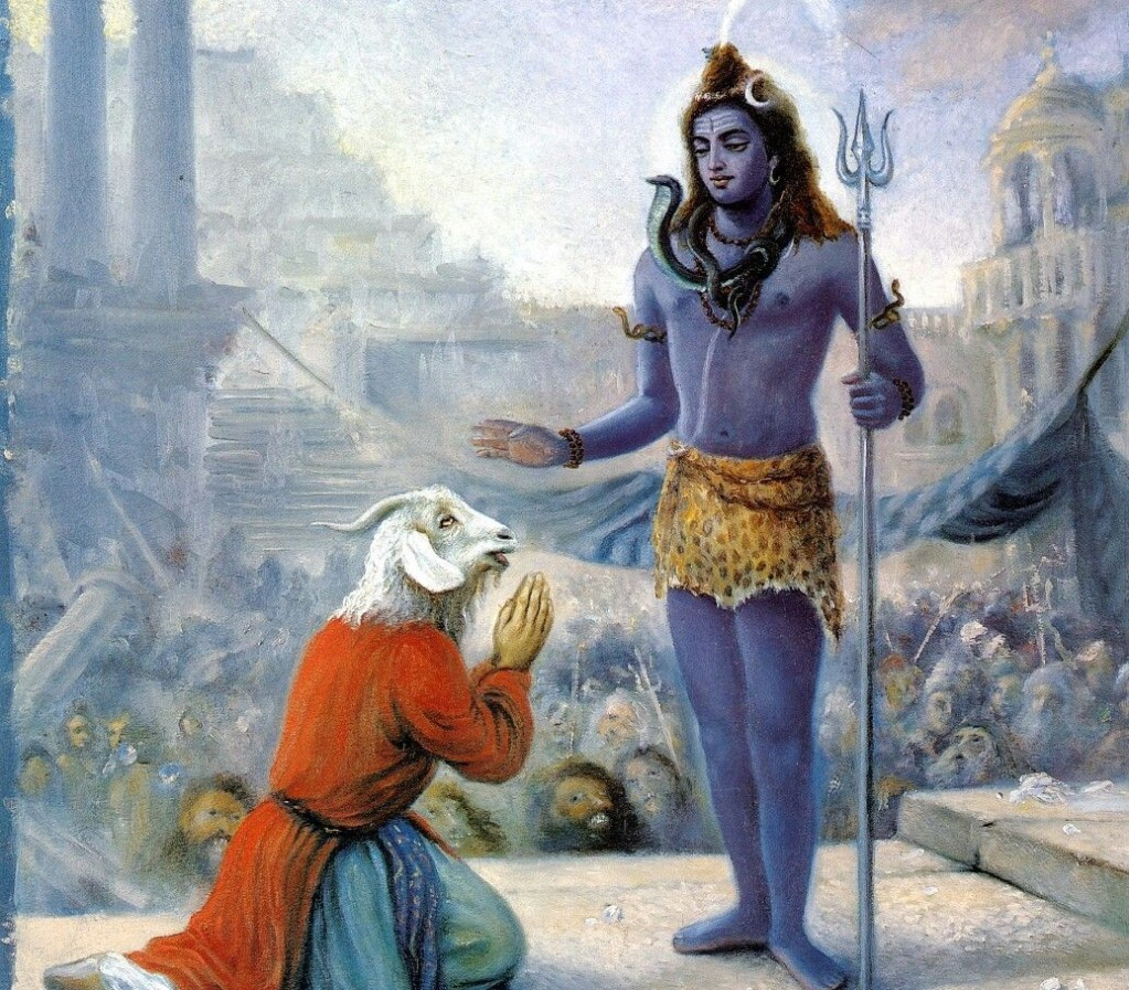 Ram-headed Daksha being blessed by Lord Shiva with Shivaganas in the background