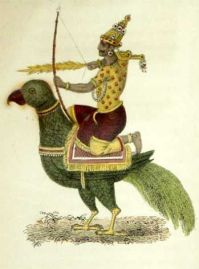 Kamdeva with his bow in hand seated on his parrot