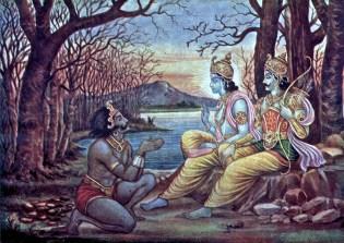 Maya at the feet of Arjuna and Krishna in the Khandava Vana. Krishna orders him to build a palace for the Pandavas