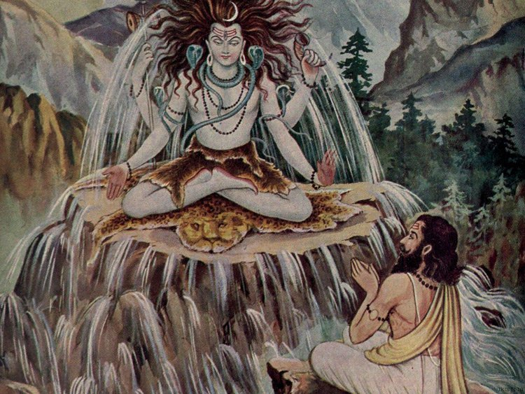 Shiva meditating with Ganga coming out, Bhagiratha praying to him
