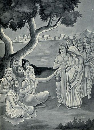 Samba dressed as a women approached the group of sages with the other princes