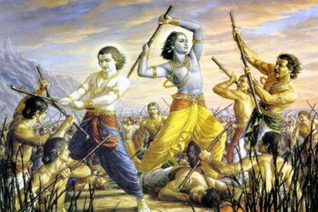 Krishna, Balarama, and the Yadavas fighting each other with sticks