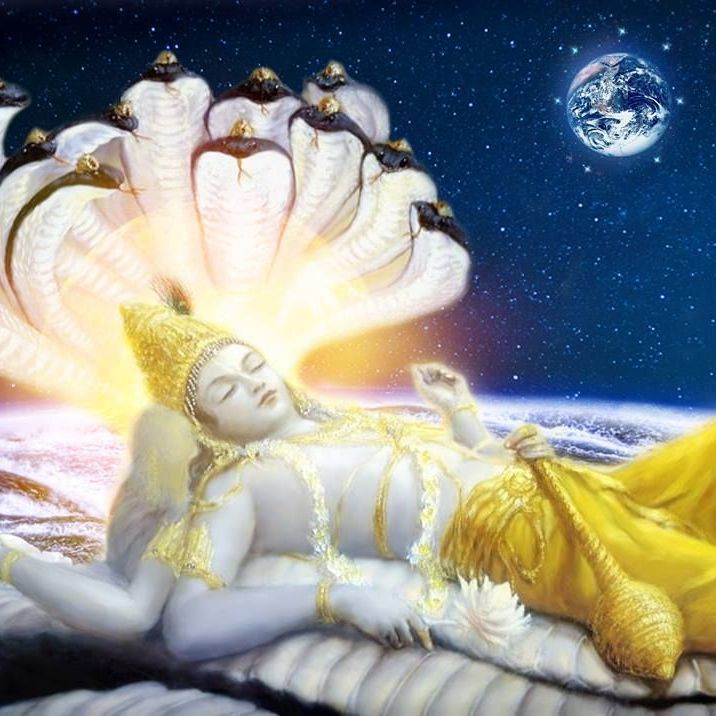Lord Vishnu reclining on Shesha Naga in the Garbodhaka Ocean with the Earth in the background