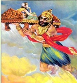 Ghatotkacha flying in the sky, carrying Draupadi seated on a bench on his shoulder