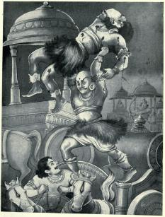 Ghatotkacha throws Alambusha's severed body into the shocked Duryodhana's chariot