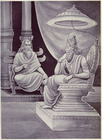 Dhritarashtra sits in his throne, while Vidura sits next to him and talks to him