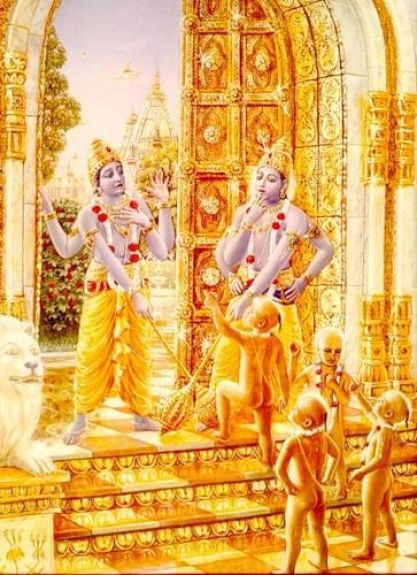 The four Kumaras are standing at the gates of the palace grounds, Jaya-Vijaya look shocked as they cu
