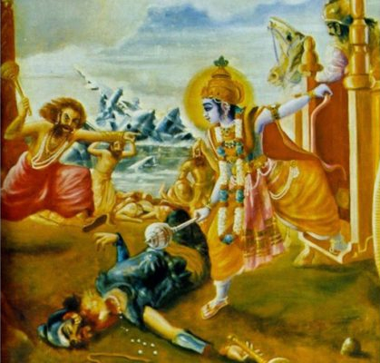 Dantavakra attacks Krishna with a mace