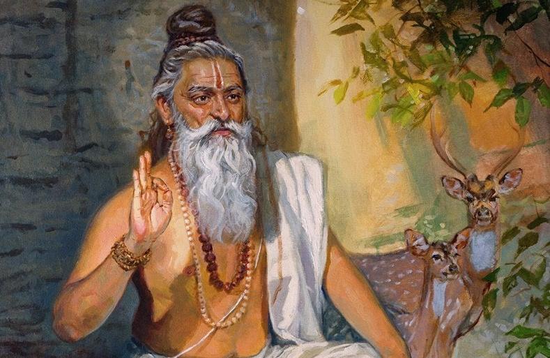 Vashishta Rishi sitting and reading a scripture, with various animals around him