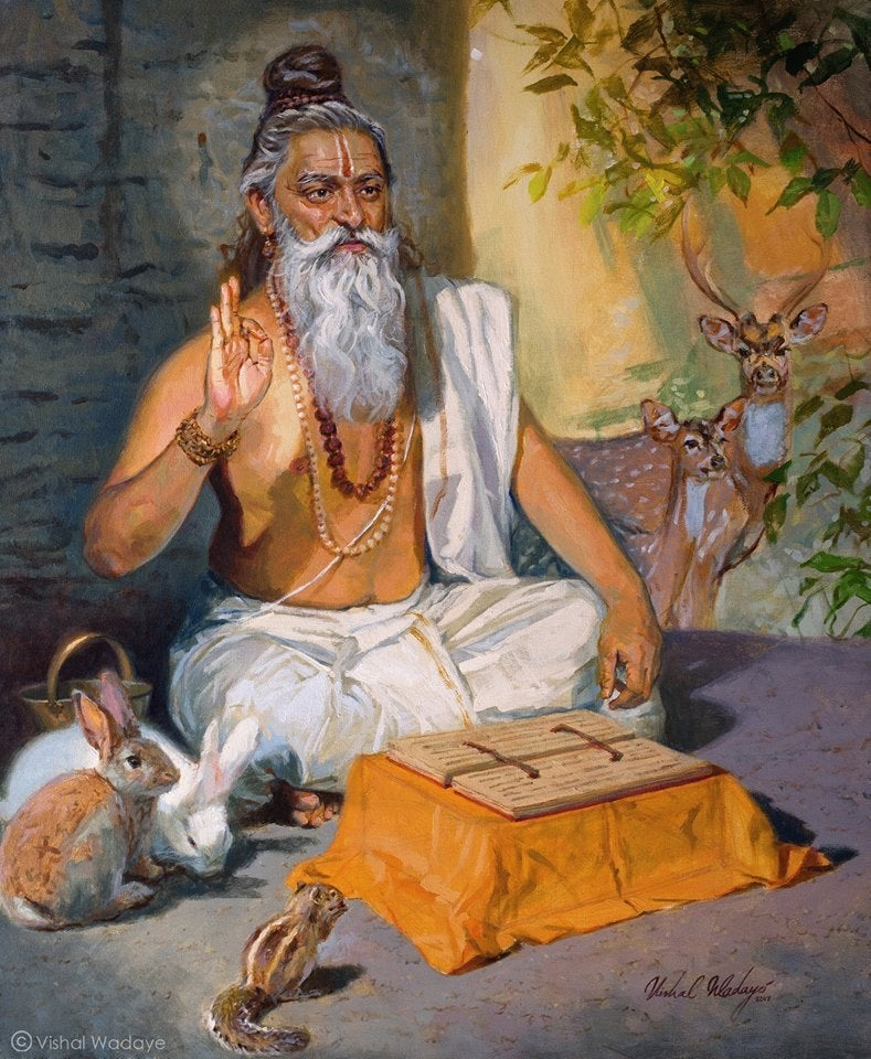 Vashishta Rishi sitting and reading a scripture, with various animals around him