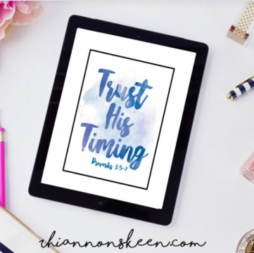 Trust His Timing! A digital print from rhiannonskeen.com that reminds us to trust and wait on God.