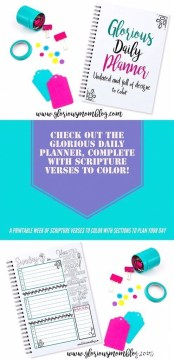 Check out the Glorious Daily Planner! Seven printable designs, one each for the days of the week, undated so you can use it over and over. Each day includes a unique Bible verse for you to color. It also includes a blank monthly calendar page. Get your week organized while meditating on the Bible and expressing your creative side! Only $4.99 at the Glorious Mom Store.
