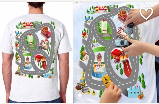This shirt is such a fun Father's Day gift! Dad gets a back massage while the kids race cars on his back.