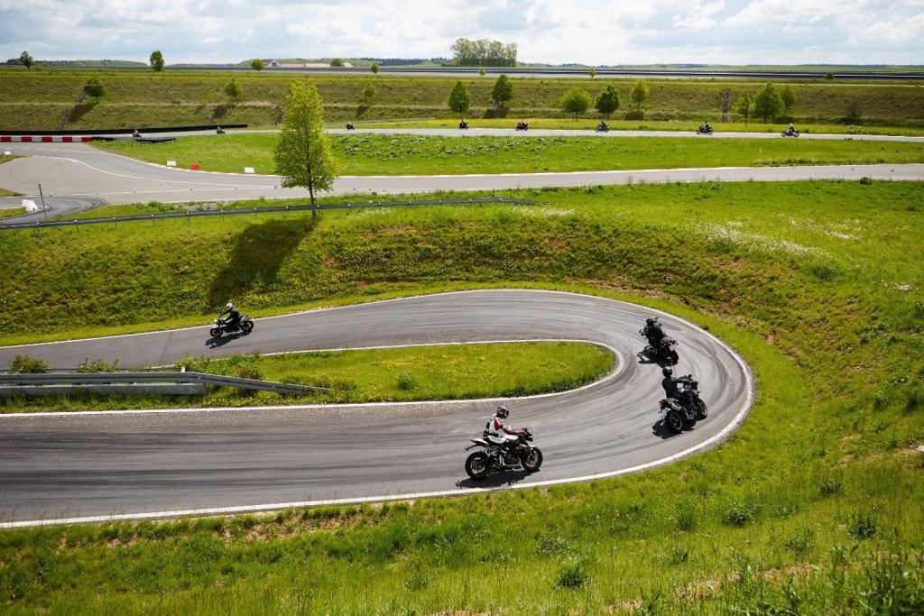 Motorcycles driving a route