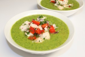Avocado Soup with Shrimp Ceviche Recipe