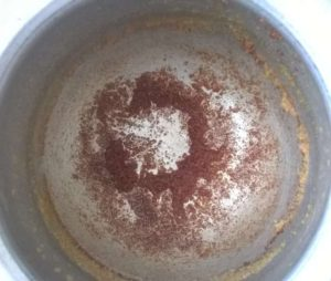 Homemade ghee-leftover red deposits