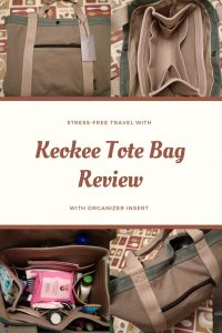 Keokee tote with organizer insert is a cool tote bag for stress-free travel. Organized bag for sane travel.