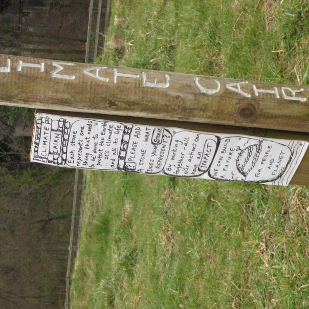 Climate cairn sign