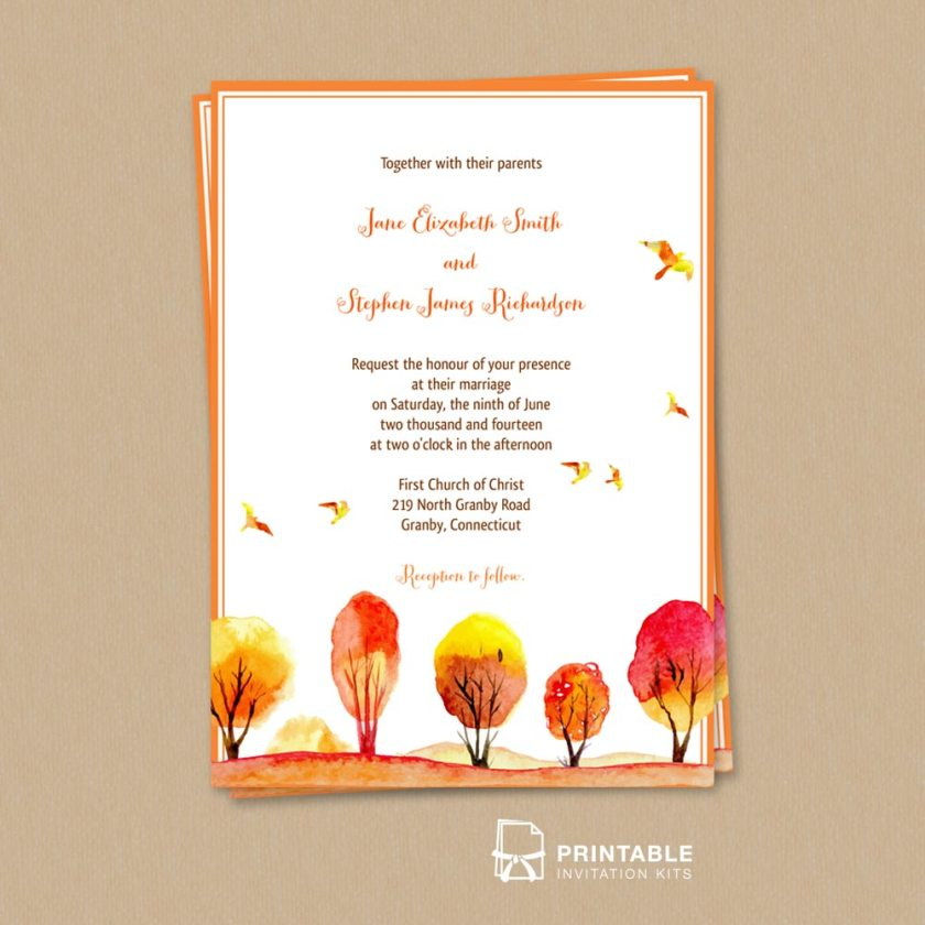 Watercolor Autumn Scene Email Wedding Invitation