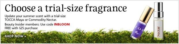 Sephora Canada INBLOOM Canadian Coupon Code Free Perfume Sample Tocca Maya Nectar Commodity - Glossense