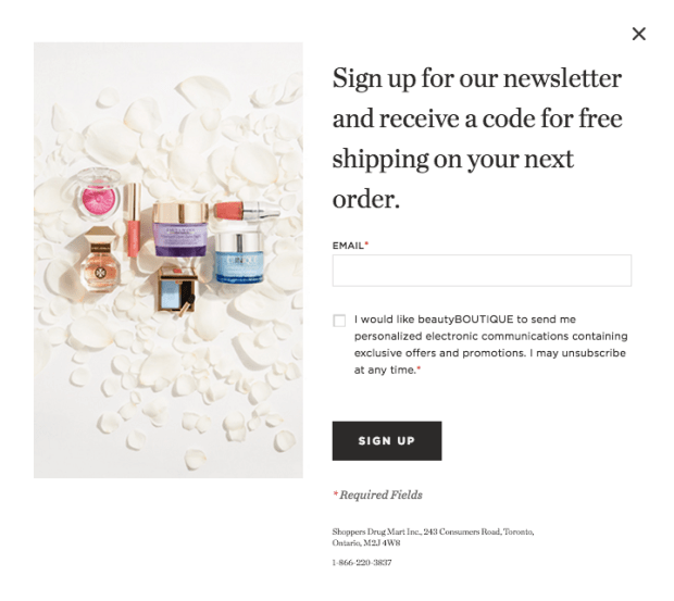 Beauty Boutique Canada Free Shipping on Next Order Canadian Free Shipping Sign-up Deal - Glossense