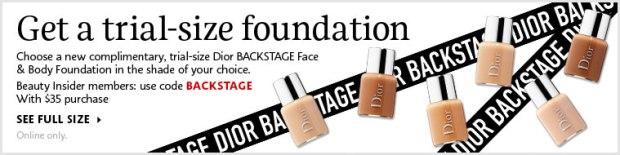 Sephora Canada Canadian Dior Sample Free Dior Backstage Face and Body Foundation - Glossense