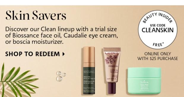Sephora Canada Free Caudalie, Boscia and Biossance Clean Skin Deluxe Samples Promo Code CLEANSKIN - Glossense