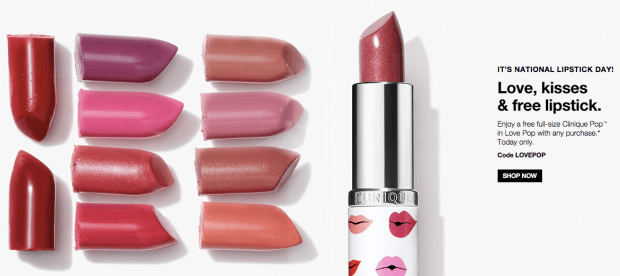 Clinique Canada National Lipstick Day Free Clinique Love Pop Lipstick Canadian Freebies 2018 2019 - Glossense