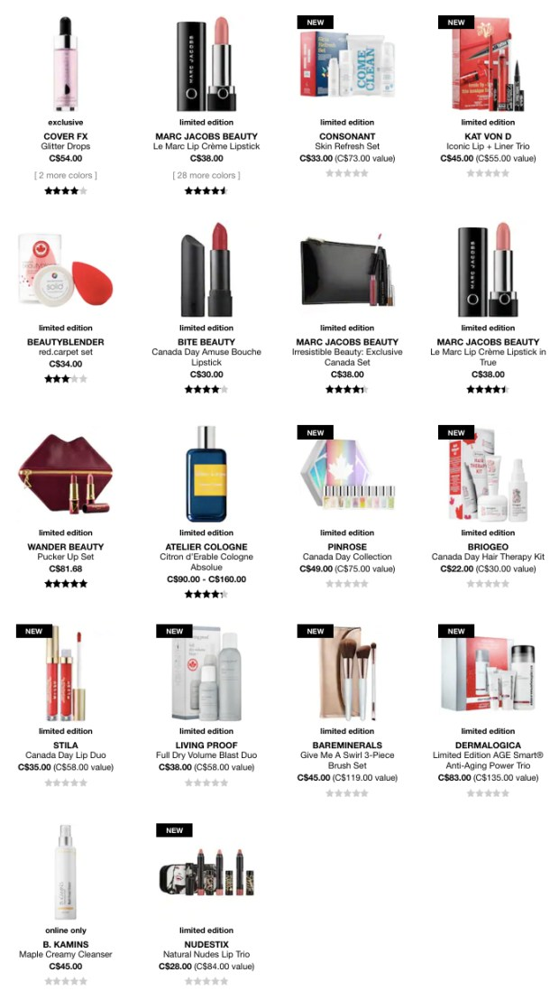 Sephora Canada Day 2018 Exclusives Canadian Deal Deals Sale Sales - Glossense