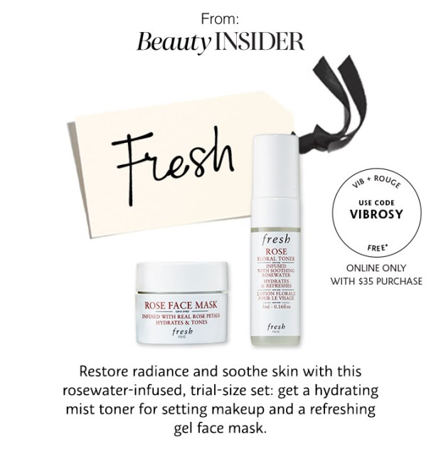 Sephora Canada VIB Rouge Beauty Insider Monthly Gift Free Fresh Rose Face Mask and Toner - Glossense