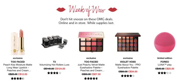 Sephora Canada Week of Wow Weekly Canadian Deals July 12 2018 - Glossense