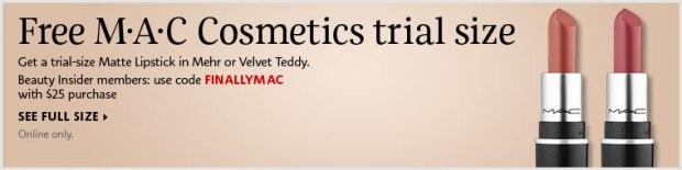 Mac Cosmetics Canada Free Lipstick Deluxe Sample Mehr Velvet Teddy - Glossense