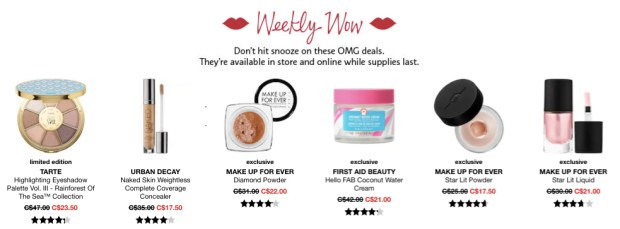 Sephora Canada Week of Wow Weekly Canadian Deals September 13 2018 - Glossense