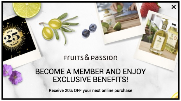 Fruits and Passion Canada Canadian Email Sign up Newletter Sign-up Offer Coupon Promo Code Discount Savings - Glossense