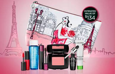 Lancome Canada Promo Coupon Code Free Makeup Pouch plus 7 Piece Deluxe Sample Gift Set October 2018 - Glossense