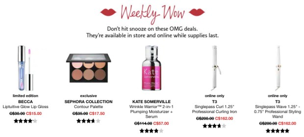 Sephora Canada Week of Wow Weekly Canadian Deals October 11 2018 - Glossense