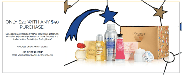 L'Occitane en Provence Canada Holiday Essentials Set Gift Discounted Offer Canadian Deal 2018 - Glossense