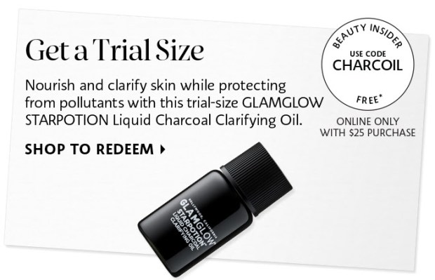Sephora Canada Canadian Coupon Codes Promo Code Free GWP Gift GlamGlow Starpotion Star Potion Liquid Charcoal Clarifying Oil Deluxe Sample Freebie - Glossense