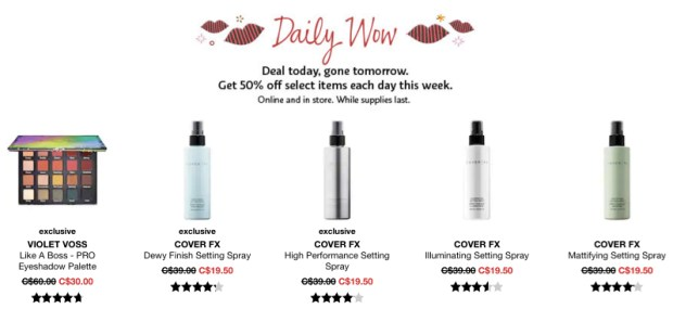 Sephora Canada Canadian Daily Wow Deal Cyber Week November 20 2018 Violet Voss Like A Boss Eyeshadow Palette Cover FX Setting Sprays - Glossense