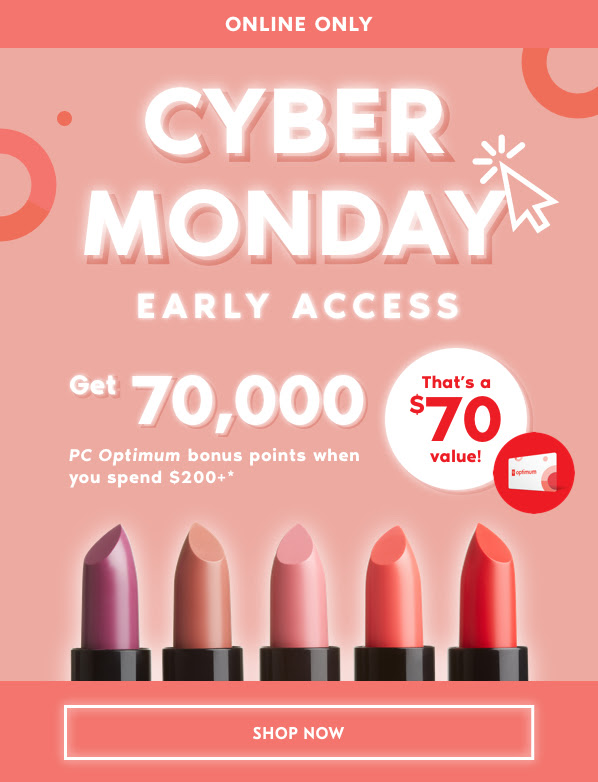 Shoppers Drug Mart Canada SDM Beauty Boutique 2018 Cyber Monday Week Canadian PC Points Promo Offer November 25 26 2018 2019 - Glossense