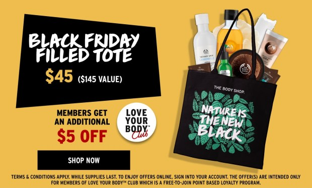 The Body Shop Canada Canadian Deals Black Friday Filled Tote Bag Offer 2018 2019 - Glossense