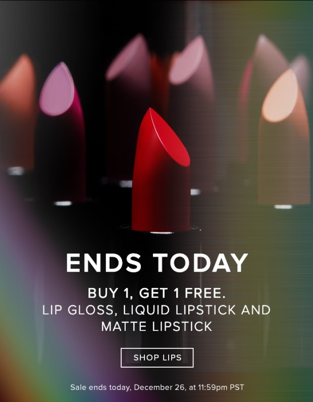 Anastasia Beverly Hills Canada ABH Canada 2018 Canadian Boxing Day Deals Sale BOGO Lipstick Buy One Get One Free - Glossense